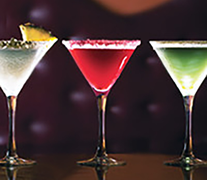3 Cocktails; White, Red, Green